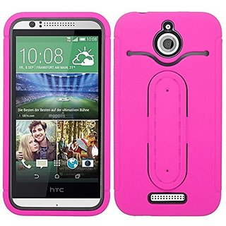 Zizo HTC Desire 510 Silicon Hard PC Metal Flexible Kickstand with Dual Layered ID Holder Combo Cover - Retail Packaging