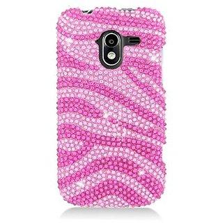 Eagle Cell PDZTEN9120S302 RingBling Brilliant Diamond Case for ZTE Avid 4G N9120 - Retail Packaging - Hot Pink Zebra