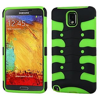 MyBat Hybrid Protector Cover for Samsung N900A - Retail Packaging - Rubberized Black/Electric Green Ribcage