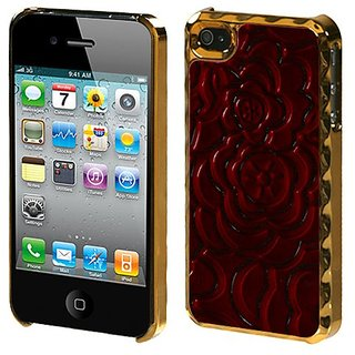 MYBAT IPHONE4HPCBKLE216WP Premium Executive Case for iPhone 4 - 1 Pack - Retail Packaging - Red Rose Gold Plating Rose E