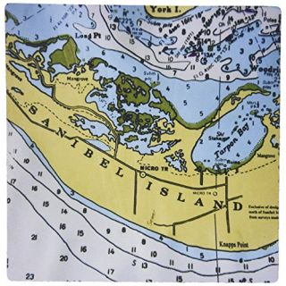 3dRose LLC 8 x 8 x 0.25 Inches Mouse Pad, Nautical Chart III (mp_24593_1)