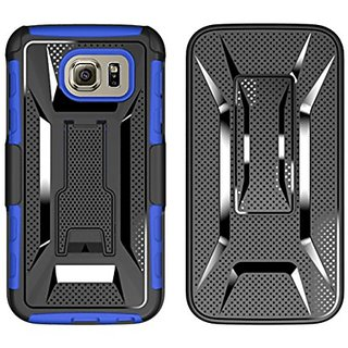 Galaxy S6 Case, Sevenday Full Body Rugged Holster Case with Swivel Belt Clip - Dual Layer Shock Resistant Cover for Sams
