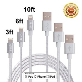 Bestfy(TM)3Pack 3FT 6FT 10FT 3IN1 Extra Long Tangle Free Nylon Braided 8Pin to USB Power Cable Cord Wire with Aluminum H