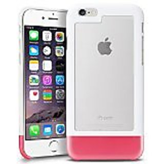 INSTEN TriTone Slim Hard Case Cover with Fingerprint Free for Apple iPhone 6 - Retail Packaging - White/Clear/Hot Pink