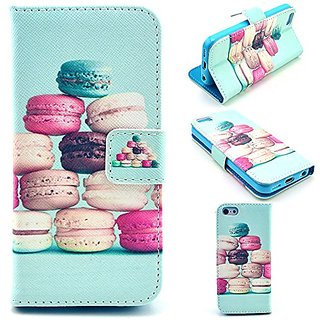 5S Case,iPhone 5S case,Leather Wallet Case,Card Slots PU Leather Flip Stand Case Cover For iPhone 5S Cake Dessert Patter