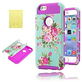 iPhone 6 Case, CQSTORE(TM) 2in1 Hybrid High Impact Resistant Case with Floral Pattern, Cute Flower iphone 6 Case(Purple)