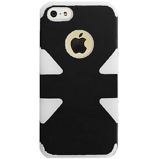 HR Wireless Dynamic Hybrid Carrying Case for iPhone 5/5S - Retail Packaging - Black Plus White