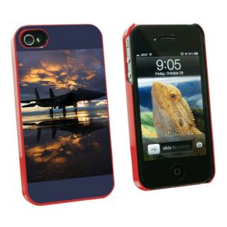 Graphics and More Aircraft Jet Fighter at Sunset - Air Force - Snap On Hard Protective Case for Apple iPhone 4 4S - Red