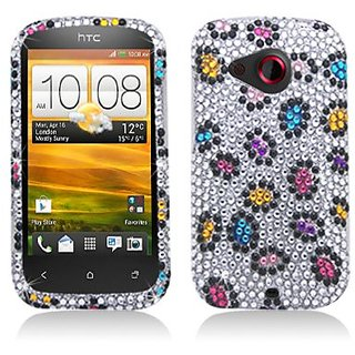 Aimo HTCDESIRECPCLDI688 Dazzling Diamond Bling Case for HTC Desire C - Retail Packaging - Colorful Leopard