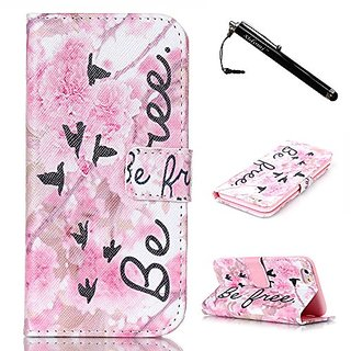 iPhone 6S Case,iPhone 6 Case,Pink Flowers TPU Leather Flip Wallet Protective Soft Skin Case Magnetic Clasp with Dust plu
