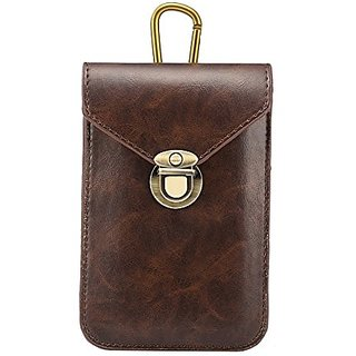 Xindayi Crazy PU Leather Pouch Sleeve Belt Case Bag Holster with Metal Buckle Universal Case Leather Multi-storey Pocket