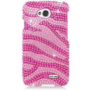 Eagle Cell Diamond Protector Case for LG Optimus L70/Ultimate 2 L41C/Exceed 2/Realm LS620 - Retail Packaging - Hot Pink
