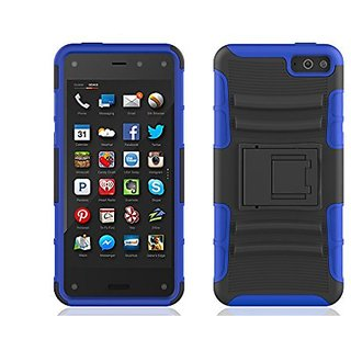 Amazon Fire Phone Case - Prime Series Dual Layer Holster Case with Kickstand and Locking Belt Swivel Clip (Dark Blue)