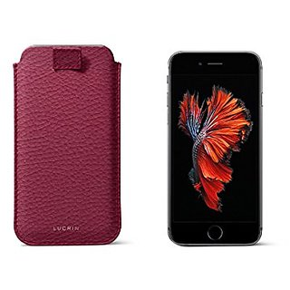 Lucrin - iPhone 6 Plus/6s Plus sleeve with pull-up strap - Fuchsia - Granulated Leather
