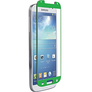 Znitro Glass Screen Protector for Samsung Galaxy S4 - Retail Packaging - Green Bezel