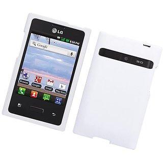 Eagle Cell LG Optimus Logic/L35G Hard Rubber Phone Case - Retail Packaging - White