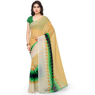 Anand Sarees Faux Georgette Green & Multi Colored Printed Saree With Blouse Piece