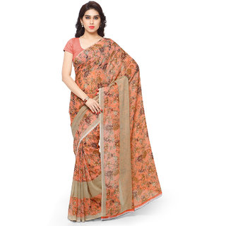 Anand Sarees Faux Georgette Orange & Multi Colored Printed Saree With Blouse Piece