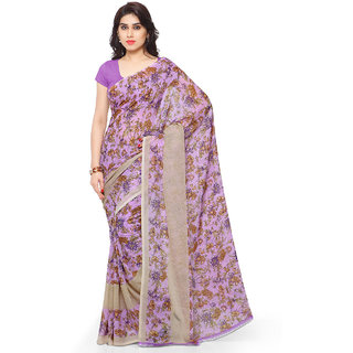 Anand Sarees Faux Georgette Purple  Multi Colored Printed Saree With Blouse Piece (11764)