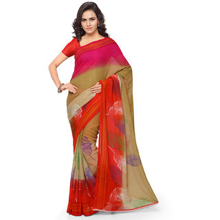 Anand Sarees Faux Georgette Red  Multi Colored Printed Saree With Blouse Piece