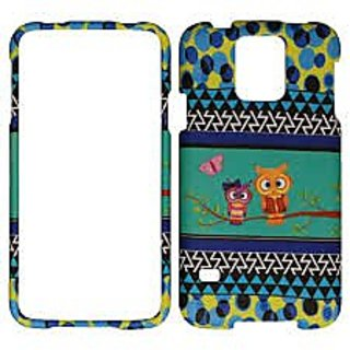 Cell Armor Samsung Galaxy S5 Snap-On Protective Cover - Retail Packaging - Two Owls and Butterfly on Blue