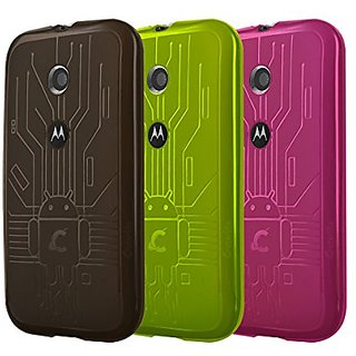 Moto E Case, Cruzerlite Bugdroid Circuit Bundles of 3 TPU Cases Compatible for Motorola Moto E - Smoke/Green/Pink