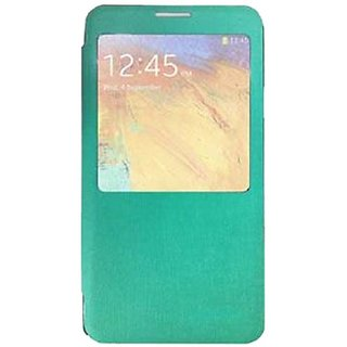 HR Wireless Samsung Galaxy Note 3 Smart View Flip Cover Snap on Back - Retail Packaging - Mint Green