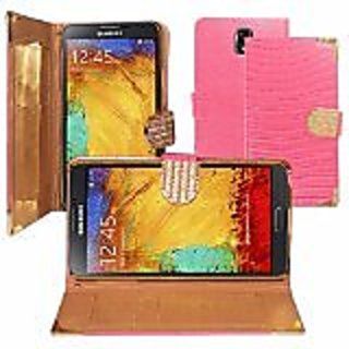 Zizo Samsung Galaxy Note 4 Horizontal Exclusive Diamond Flap Pouch with Credit Card Pockets - Retail Packaging - Pink