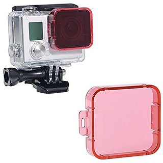 Neewer Camera Lens Pale Red Snap On Cube Filter Lens Protector for GoPro HD HERO 4/3+