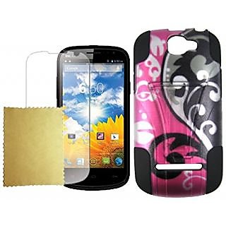 Maxtron Hybrid Hard T-Stand Dual Armor Phone Case Cover for BLU Dash 4.5 D310A - Non-Retail Packaging - Pink Floral