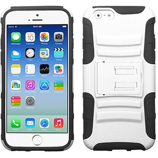 MYBAT Advanced Armor Stand Protector Cover for iPhone 6 - Retail Packaging - White/Black