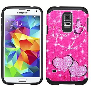 MyBat Asmyna Advanced Armor Protector Cover for SAMSUNG Galaxy S5 - Retail Packaging - Glittering Butterfly/Heart/Hot Pi