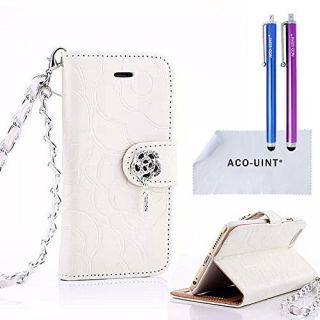 iPhone 5 Case, iPhone 5S Case, ACO-UINT Premium Fashion Emboss Flower Flip Wallet Leather Cover Skin Case for iPhone 5 5