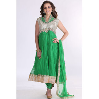 Jade Green And Off-white Net Embroidered Festival Lawn Kameez