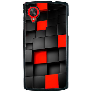 Ayaashii Black And Red Square Abstract Back Case Cover for LG Google Nexus 5::LG Google Nexus 5 (2014 1st Gen)