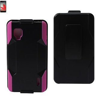 Reiko SLCPC09-LGLS970BKHPK Premium Hybrid Case with Protective Cover and Kickstand for LG Optimus G LS970 - 1 Pack - Ret