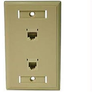 C2G / Cables to Go 27419 Cat5E RJ45 with Cat3 RJ12 Configured Wall Plate (Ivory)
