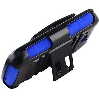 Cell-Pak Hybrid Case with Holster for Huawei Vision II - Retail Packaging - Black/Blue