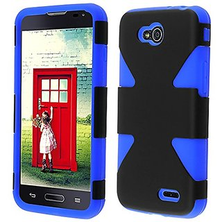 HR Wireless Dynamic Slim Hybrid Cover Case for LG L90 - Retail Packaging - Black/Blue