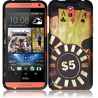 HR Wireless Rubberized Design Cover Case for HTC Desire 610 - Retail Packaging - Ace Poker