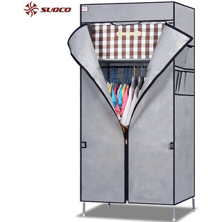 EI Stylish & Foldable Canvas Cupboard, Cabinet, Almirah, Wardrobe, Gray available at ShopClues for Rs.4299