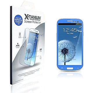 X-Tanium Tempered Glass Screen Protector for Samsung Galaxy S3 - Retail Packaging - Blue