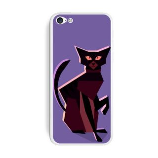 Graphics and More Geometric Cat Dark Brown Protective Skin Sticker Case for Apple iPhone 5C - Set of 2 - Non-Retail Pack