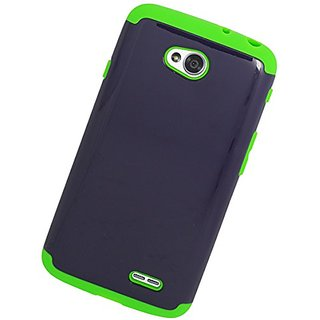Eagle Cell Hybrid Skin Hard Case Cover for LG L70/Ultimate 2 L41C/Exceed 2/Realm - Retail Packaging - Green/Dark Blue