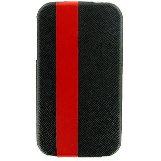 SKECH Custom Jacket Flip Leather Case for iPhone3 - 1 Pack - Retail Packaging - Black/Red