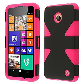 HR Wireless Nokia Lumia 635/630 Dynamic Slim Hybrid Cover Case - Retail Packaging - Black/Hot Pink