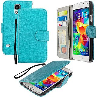 Accessory Planet(TM) Baby Blue Wallet Leather Pouch Case Cover with Credit Card Slots Holder Accessory for Samsung Galax