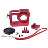 Neewer Red Aluminium Protective Housing Case Border Shell With 37mm Lens Cap For GoPro Hero 3 3+