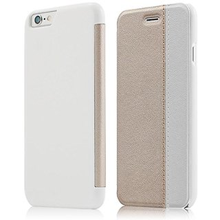 Iphone 6/6s Case, Maxace Slim-fit Folio Flip Pu Leather Carry Case Cover for Iphone 6/6s (White+Gold)