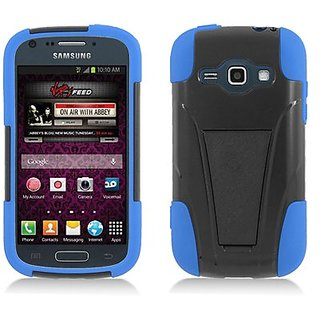 Eagle Cell Hybrid Y Case with Kickstand for Samsung Galaxy Ring/Prevail 2/M840 - Retail Packaging - Blue/Black